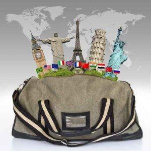 Travel the world baggage monument concept
